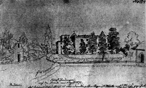 Dundagas ērģelnieka Verta izgatavotais pils skats no rietumiem pēc 1872.gada 1.aprīļa ugunsgrēka.