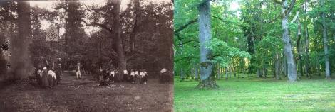 """Izrādes """"Mūsu senči"""" izrādīšanas vieta Dundagas parkā 1928. un 2015. gadā"""