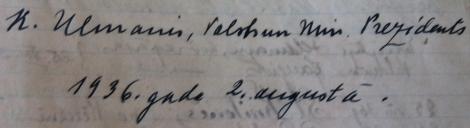 Valsts prezidenta Kārļa Ulmaņa ieraksts Dundagas luterāņu baznīcas viesu grāmatā (02.08.1936.).