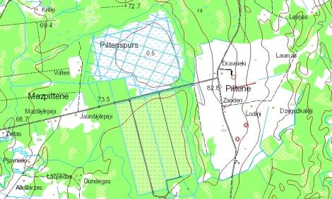 Fragments no Dundagas pagasta topogrāfiskās kartes, kurā redzama Piltene 2015. gadā. Avots: LĢIA