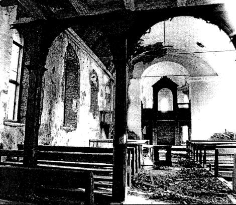 Izdemolētā Mazirbes luterāņu baznīca 1983. gadā