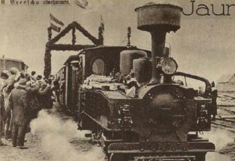 Pirmais vilciens no Ventspils dodas cauri godavārtiem (Atpūta, 09.03.1934.)