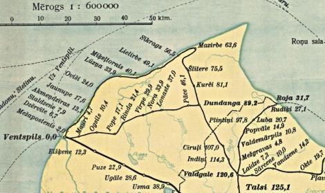 Fragments no Latvijas dzelzceļu kartes (1939.)