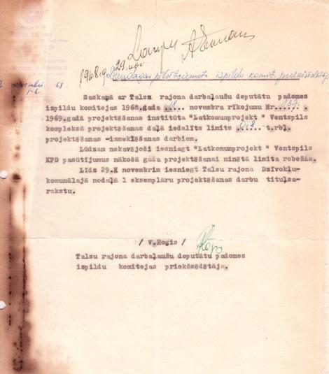 Talsu rajona izpildu komitejas 22.11.1968. vēstule