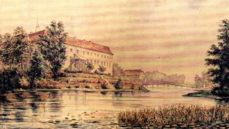 Dundagas pils un dīķis. A.Pecolda akvarelis. 1846.gads.