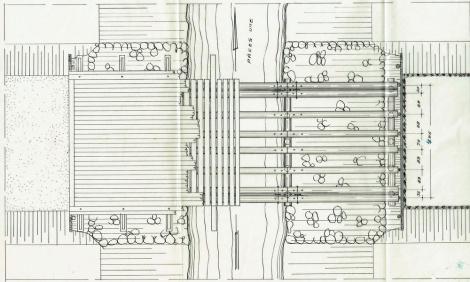 Tilta pār Pāces upi J.Fabriciusa ielā plāns (1955.)