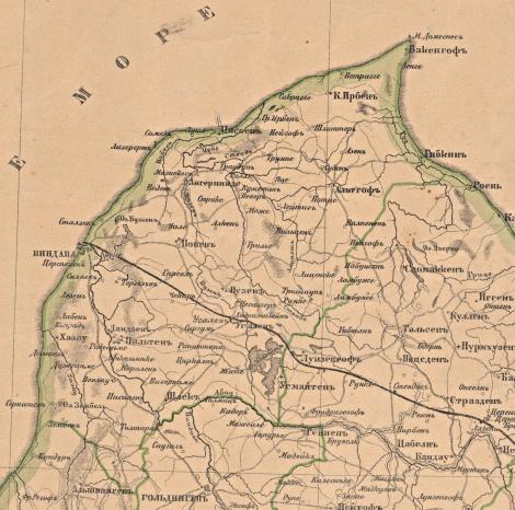 Ventspils apriņķis. Fragments no Kurzemes gurberņas 1901. gada kartes.