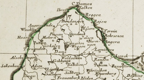 Fragments no 1791.gada kartes. Li Palatinati di Wilna, Troki, Inflant, coi Ducati di Kurlandia, e Smudz. Tratta dall' Atlante Polacco del Sigr. Rizzi Zanoni.